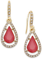 INC International Concepts Gold-Tone Pink Stone and Pavé Teardrop Drop Earrings, Created for Macy's