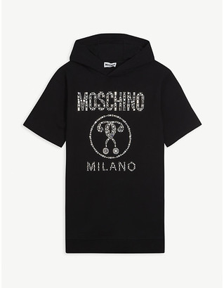 Moschino Crystal-embellished logo cotton-blend jumper dress 4-14 years