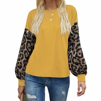 Herqw61 Womens Leopard Print Color Matching Long Sleeve Shirts Loose Sweatshirt Pullover Casual Crewneck Tunic Tops(x_l Yellow)