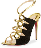 Christian Louboutin Tina Ruched Cage Red Sandal, Gold/Black
