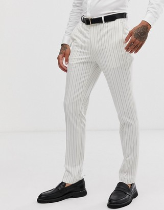 Avail London skinny fit suit pants in stone with navy pinstripe