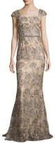 Jovani Cap-Sleeve Beaded Rose Gown, Gray