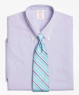 Brooks Brothers Madison Classic-Fit Dress Shirt, Non-Iron Tonal Sidewheeler Check Short-Sleeve