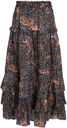 Ulla Johnson Astra Ruffled Floral Midi Skirt