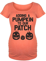 Orange 'Adding A Pumpkin To Our Patch' Maternity Scoop Neck Tee