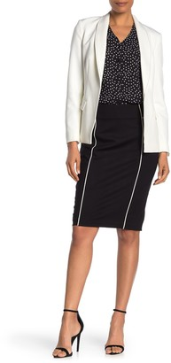 T Tahari Piped Pull-On Pencil Skirt