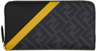 Fendi Black and Yellow Forever Zip Continental Wallet