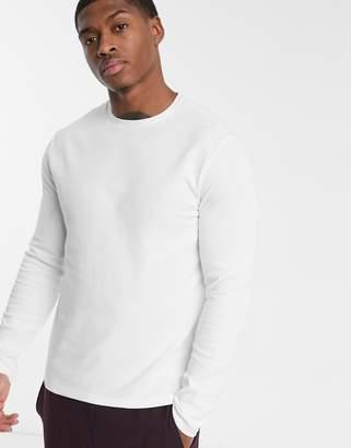 Burton Menswear long sleeve waffle top in white-Blue
