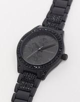 Asos Design ASOS DESIGN bracelet watch with crystal detail in black-Silver