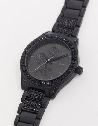 Asos Design DESIGN bracelet watch with crystal detail in black-Silver
