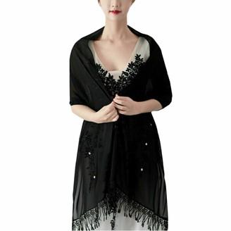 Ym Youmu Women Floral Lace Chiffon Shawl Scarf with Fringe for Party Wedding Evening Dress (Champagne 200 cm x 60 cm)