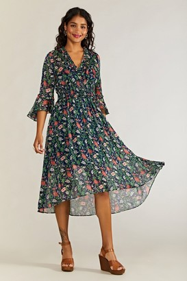 Yumi Poppy Lurex Boho Dress With Dipped Hem