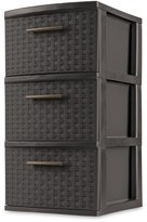Sterilite 26306P02 3 Drawer Weave Tower, Frame & Drawers with Driftwood Handles 1 unit.