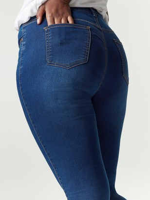 Evans Regular Midwash Skinny Jeans - Blue