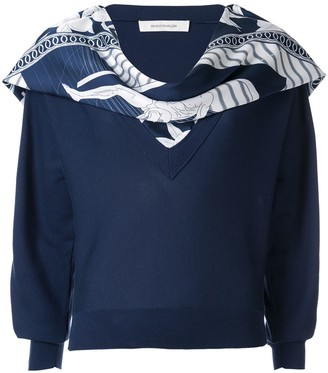 Cédric Charlier Scarf Embellished Sweater