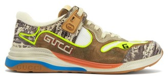 Gucci Ultrapace Distressed Leather And Suede Trainers - Mens - Beige