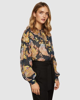 Oxford Mirabelle Navy Floral Tunic Top