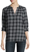 Joie Hesta Plaid Cotton Shirt, Black Pattern