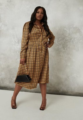 Missguided Plus Size Gold Plaid Satin Shirt Dress