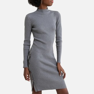 Vila Bodycon Jumper Dress with High-Neck in Cotton Mix