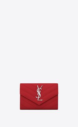 Saint Laurent Monogram Matelasse Slg Monogram Small Envelope Wallet In Grain De Poudre Embossed Leather Eros Red Onesize