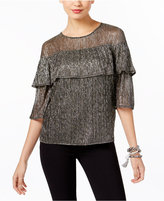 INC International Concepts Petite Tiered Metallic Top, Created for Macy's