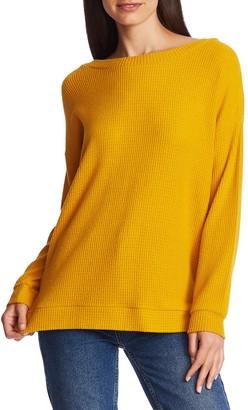 1 STATE Lattice V-Back Waffle Weave Sweater