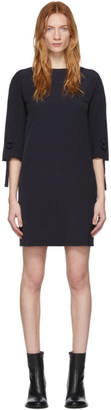 Victoria Victoria Beckham Navy Ruched Short Sleeve Dress