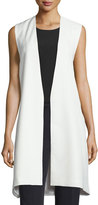 Milly Open-Front Angular Long Vest, White