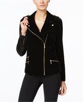 INC International Concepts Petite Velvet Moto Jacket, Only at Macy's