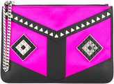 Les Petits Joueurs stud embellished clutch bag - women - Leather/Satin/metal - One Size