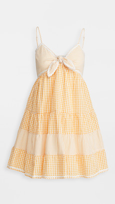 ENGLISH FACTORY Gingham Stripe Babydoll Dress