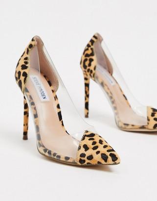 Steve Madden Malibu clear heeled shoes in leopard print