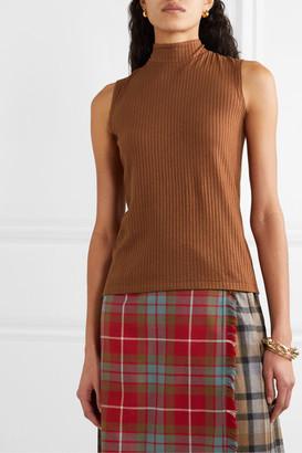 REJINA PYO Net Sustain Rebecca Tie-neck Ribbed Tencel-blend Jersey Top - Brown