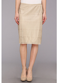 Calvin Klein Faux Leather Perforated Skirt