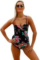 Wellwits Women's Floral Push-up Peplum Top Tankini Set Swimsuit Black S