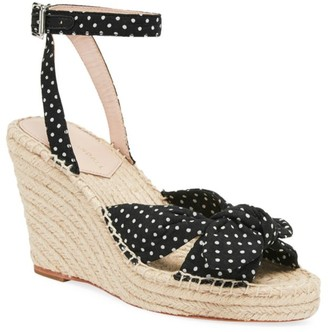 Loeffler Randall Tessa Bow Polka Dot Cotton Espadrille Wedge Sandals