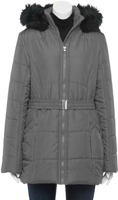 Larry Levine Women's Faux-Fur Hood Belted Puffer Coat