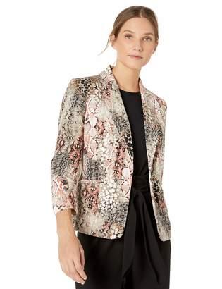 Kasper Women's 1 Button Notch Collar Snake Print Jacket