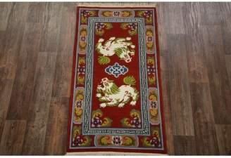 Leonardo Astoria Grand One-of-a-Kind Peking Chinese Hand-Knotted 5' 10'' x 3' Wool Burgundy Area Rug Astoria Grand