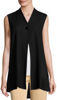 Ming Wang One-Button Textured Knit Vest, Black
