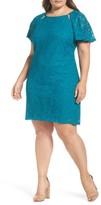 Gabby Skye Plus Size Women's Flutter Sleeve Lace Sheath Dress