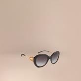 Burberry Gabardine Collection Oversize Round Frame Sunglasses