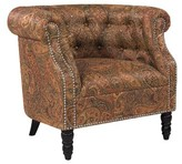 Three Posts Huntingdon Chesterfield Chair Fabric: Multi-colored Paisley with Burgundy Background