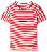 Saint Laurent Flocked Striped Cotton T-shirt - Red