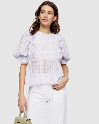 Topshop Gingham Puff Sleeve Blouse