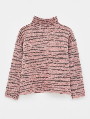 White Stuff Animal Stripe Jumper - Pink