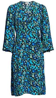 Ganni Floral Silk Blend Wrap Dress