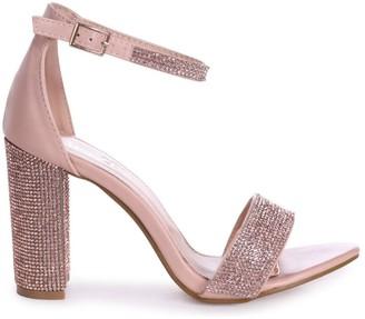Linzi Kesha Nude Nappa Block Heels With Diamante Detail