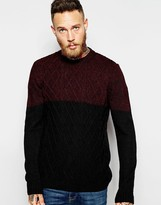 Asos Cable Knit Sweater with Color Block